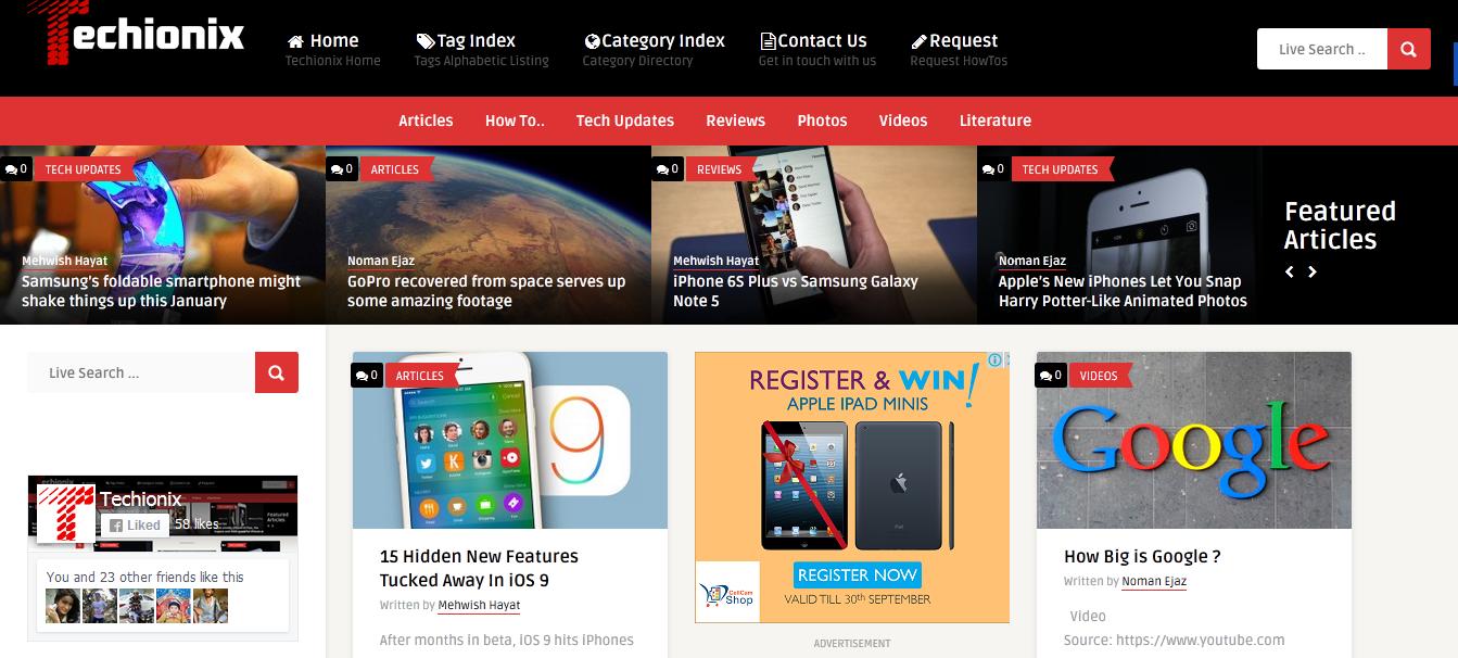 Techionix Website Homepage