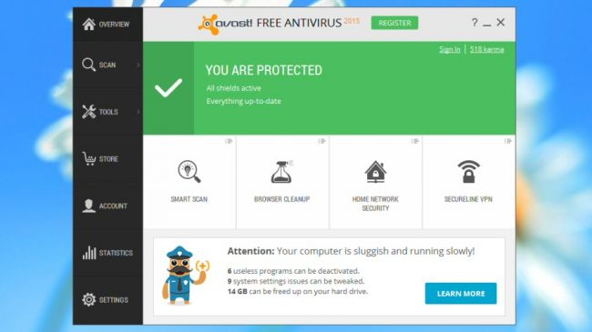 Avast Free is easy to use – even beginners will feel at home right away