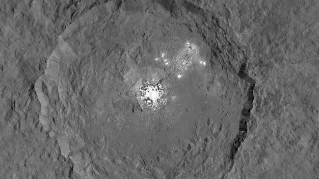 Occator crater on Ceres has bright spots (Credit: NASA/JPL-Caltech/UCLA/MPS/DLR/IDA)