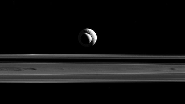 Saturn's moons Enceladus and Tethys (Credit: NASA/JPL-Caltech/Space Science Institute)