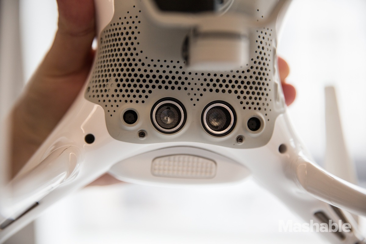 Dji Phantom 4 base shows off its pair of stabilization cameras.