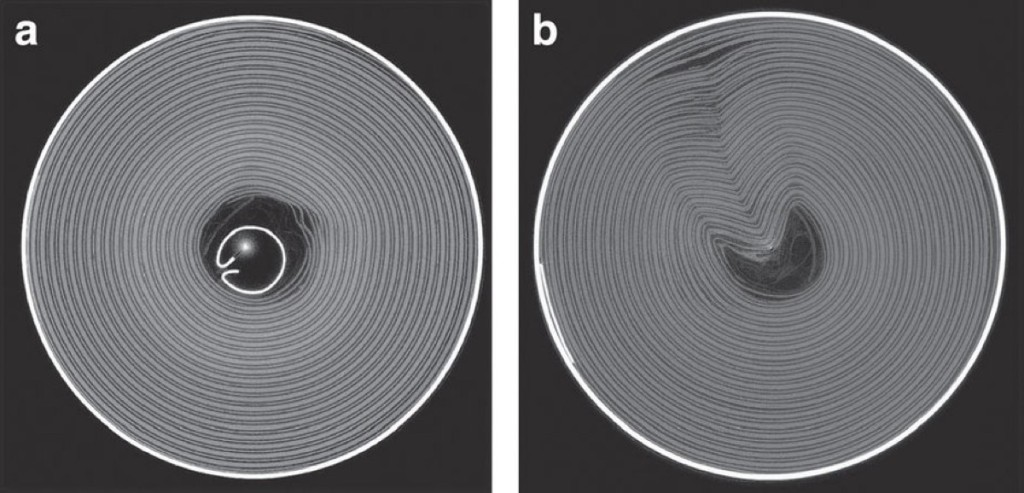 Cylindrical battery cells with (a) and without (b) an internal support (Image: Finegan et al / Nature Communications)