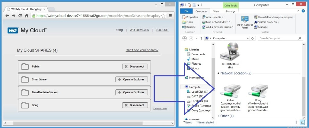 With an account with WDMyCloud.com, you can quickly create a mapped network drive to share folders from the My Cloud on a computer as though the two belonged to the same local network.