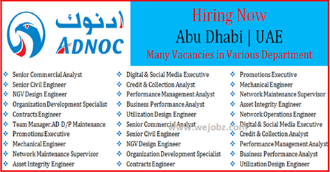 Jobs at ADNOC Future Opportunity Abu Dhabi - Techionix